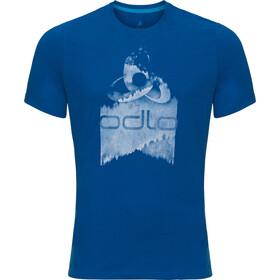 Odlo Nikko Logo Crew Neck SS Shirt Herren energy blue-placed print ss18